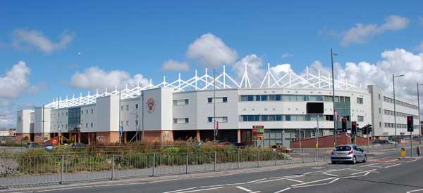 The exterior of Blackpool's Bloomfield Road Stadium.