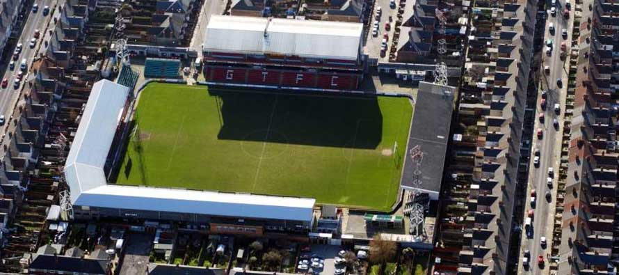 Aerial view of Blundell Park
