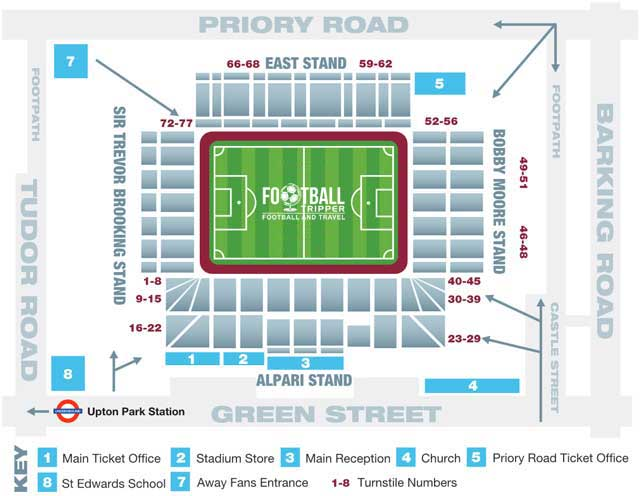 Upton Park Seating Plan