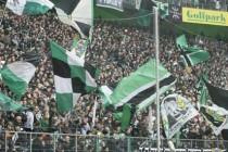 Borussia Monchengladbach supporters inside the stadium