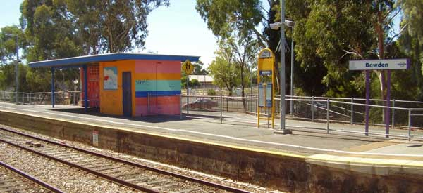 The main platform of Bowden Station.
