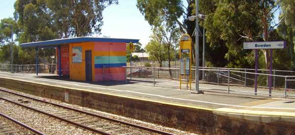 The main platform of Bowden Station.