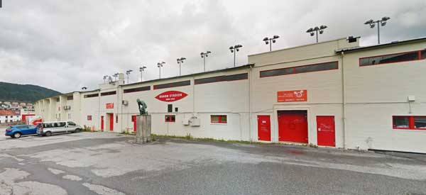 Close up of the exterior of Brann Stadion