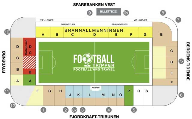 Brann Stadion seating map