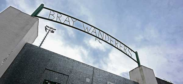 The main entrance gates to Bray Wanderers Stadium.