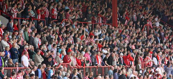 Brentford supporters inside the stadium