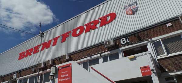 The exterior to Brentford Stadium,