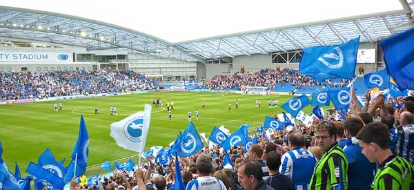 Brighton supporters inside the stadium