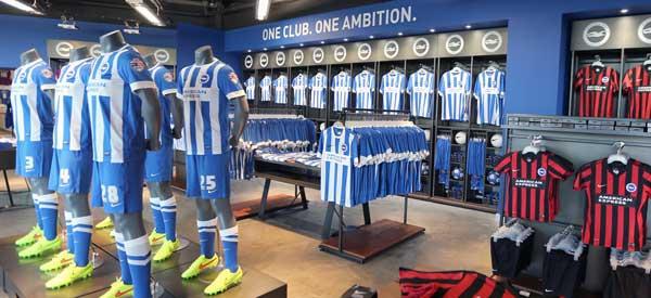 Interior of Brighton club shop
