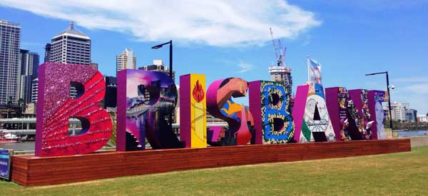 The colourful tourist sign for the city of Brisbane.