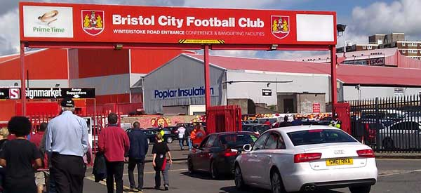 The entrance to Bristol City's Ashton Gate Stadium as seen on a matchday.