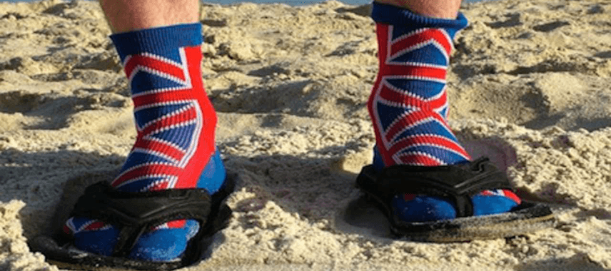 A brit abroad wearing socks and sandals