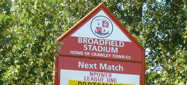 Welcome sign for Broadfield Stadium