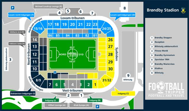 Brondby Stadium Map