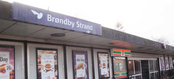 Sign for Brondby Station