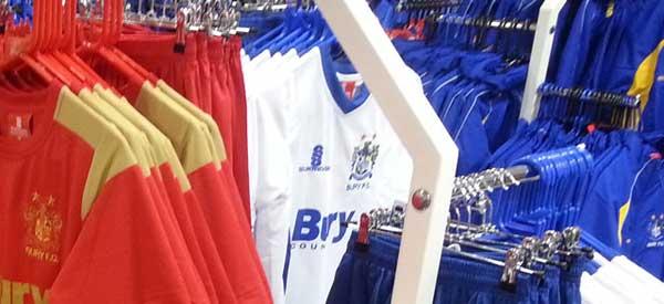 Inside Bury FC's club shop