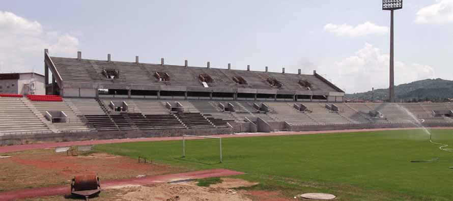 the main stand at Cacak Stadium