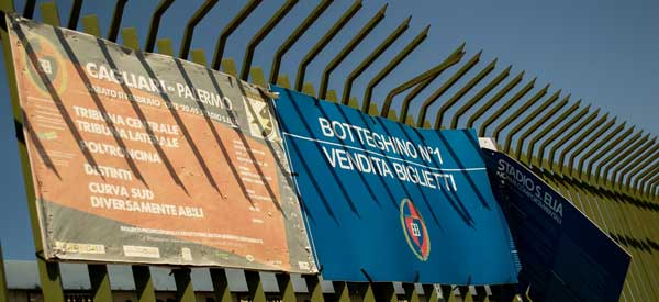 An entrance sign for the stadium with ticket information and next opponent.