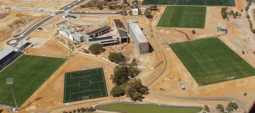Aerial view of Benfica's training ground