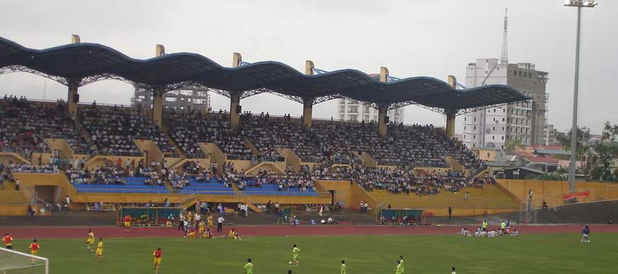Cao Lanh Stadium's main stand slowly filling up