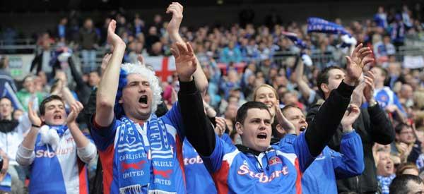 Carlisle Fans cheering their club on.