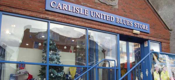 Exterior of Carlisle United's club shop