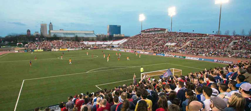 Overview of Carroll Stadium on match day
