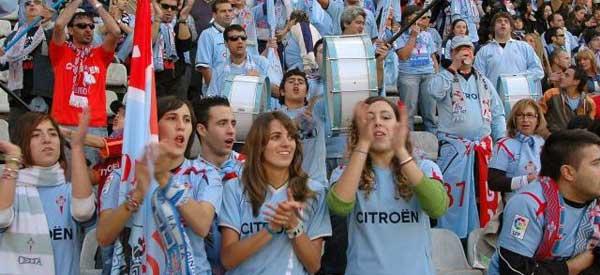 Celta de Vigo supporters inside the stadium