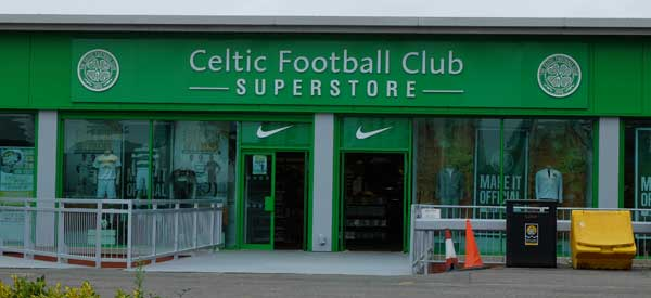 The exterior of the Celtic FC superstore located at the stadium.