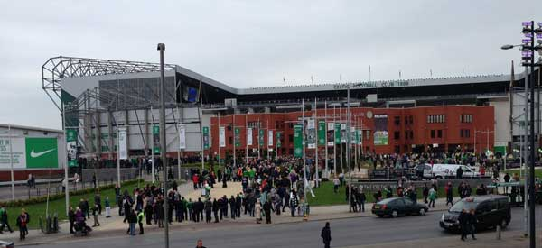 The exterior of Celtic Park Stadium.