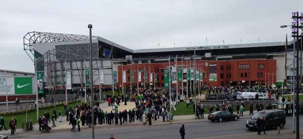 The exterior of Celtic Park Stadium.