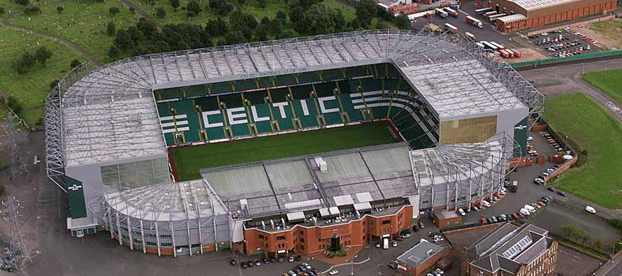 Aerial view of Celtic Park Stadium