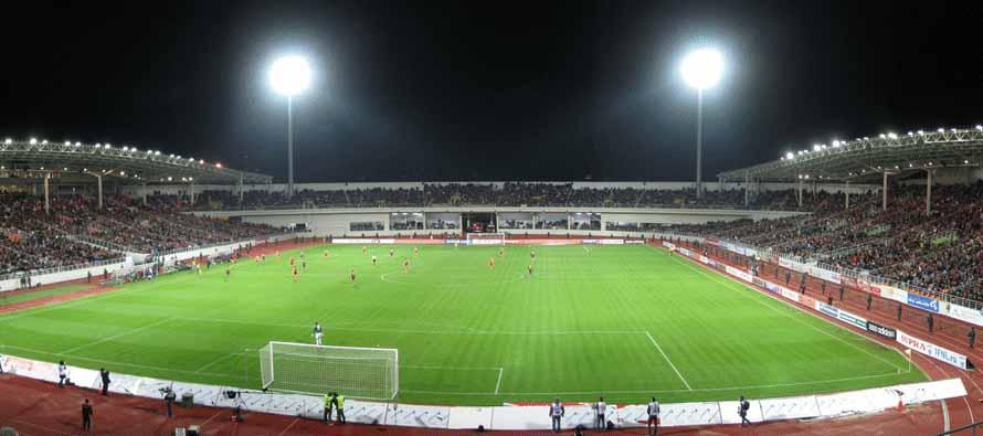 Central Stadium Yekaterinburg at night