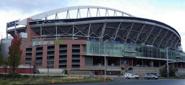 A picture taken from outside CenturyLink Field. The scale of the stadium when you're outside is really impressive.