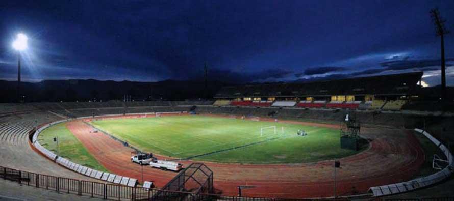 Inside Charles Mopeli Stadium at night