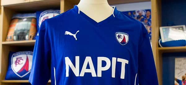 Chesterfield home shirt inside the club shop