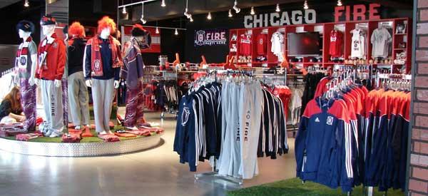 Interior of Chicago Fire club shop