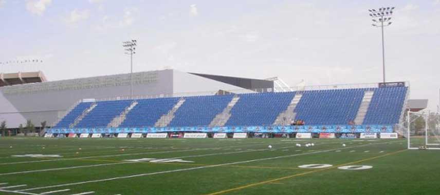 The main stand at Clarke Stadium