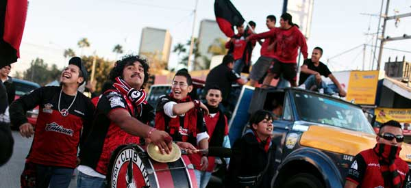 Club Tijuana supporters inside the stadium