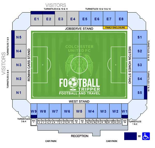 Colchester Community Stadium Seating Plan