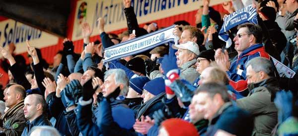 Colchester fans inside the stadium