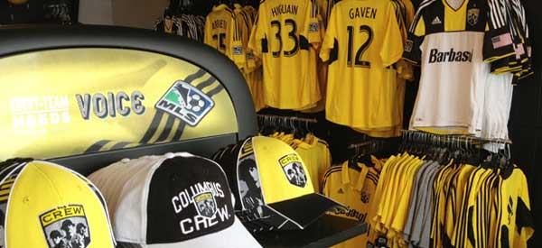 Columbus Crew merchandise before rebrand of both the MLS and Columbus Crew Logos.