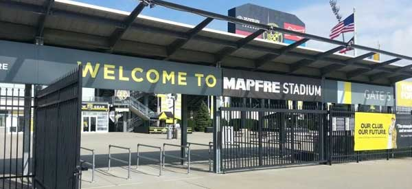The main entrance gate of Columbus Crew's Stadium which has recently been renamed to Mapfre Stadium.