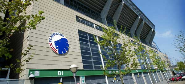 Close up exterior of Telia Parken Stadium