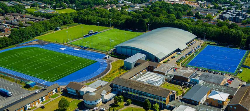 Aerial view of Cyncoed Campus stadium