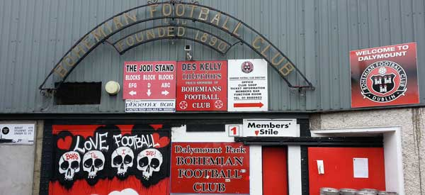 The main entrance to Dalymount Park.. Our poorly cropped photo doesn't do it justice""