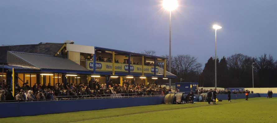 Damson Park main stand at night