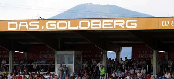 Goldberg Stadion and mountain
