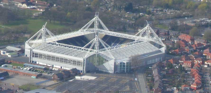 Exterior of Deepdale Stadium