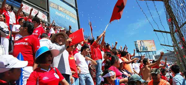 Deportivo Toluca supporters inside the stadium